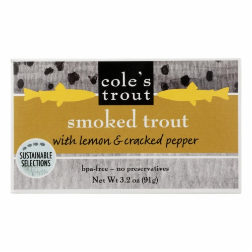 Cole's - Trout Smoked Lemon Pepper - Case of 10 - 3.2 OZ Perspective: front
