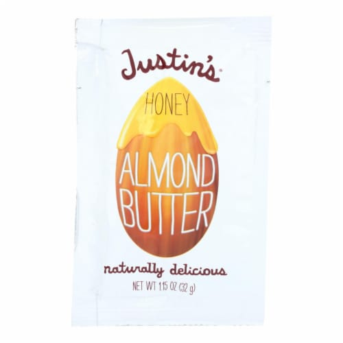 Justin's Nut Butter Squeeze Pack - Almond Butter - Honey - Case of 10 - 1.15 oz. Perspective: front