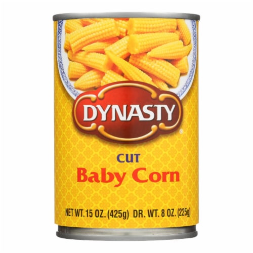 Dynasty Baby Corn - Cut - Case of 12 - 15 oz. Perspective: front