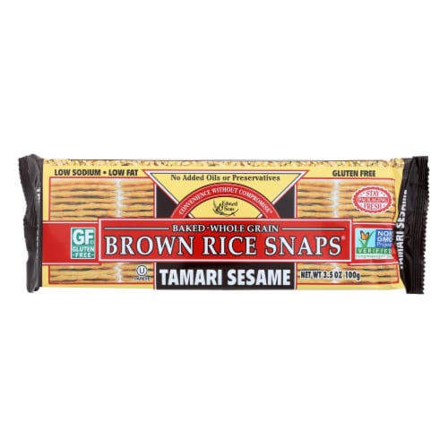 Edward and Sons Brown Rice Snaps - Tamari Sesame - Case of 12 - 3.5 oz. Perspective: front