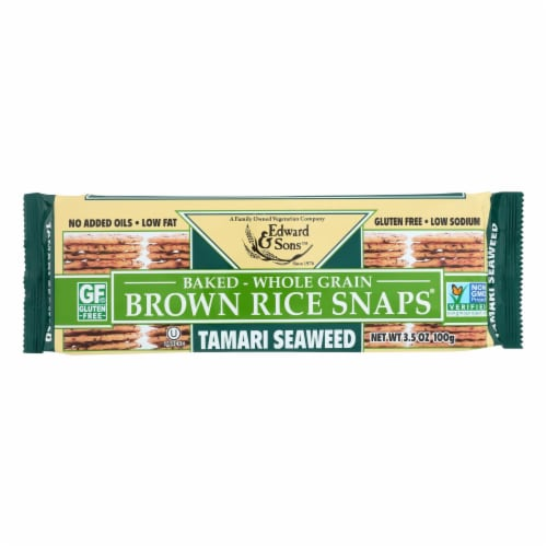 Edward and Sons Brown Rice Snaps - Tamari Seaweed - Case of 12 - 3.5 oz. Perspective: front