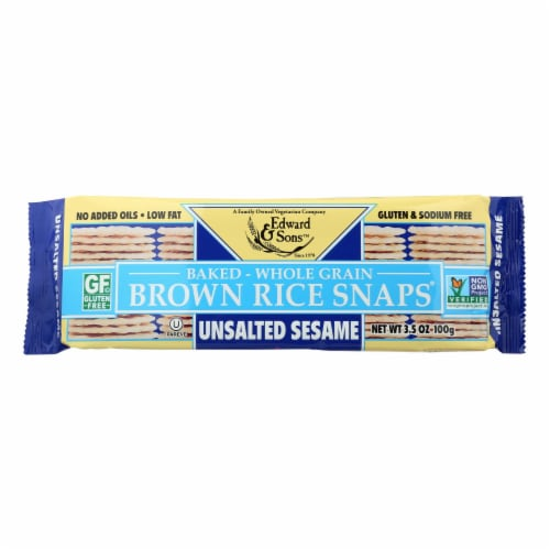Edward and Sons Brown Rice Snaps - Unsalted Sesame - Case of 12 - 3.5 oz. Perspective: front