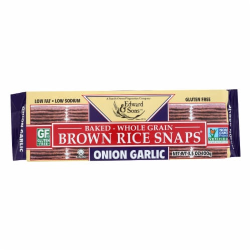 Edward and Sons Brown Rice Snaps - Onion Garlic - Case of 12 - 3.5 oz. Perspective: front