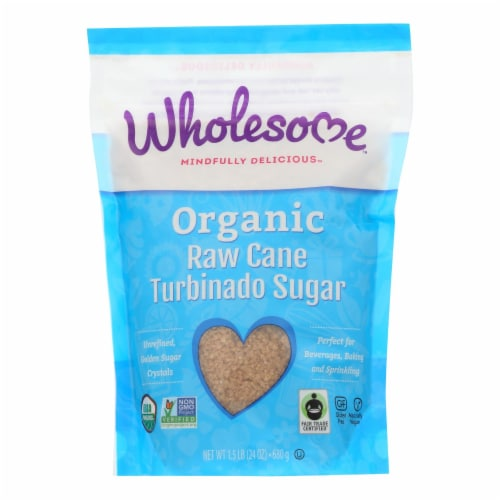 Wholesome Sweeteners Sugar - Organic - Turbinado - Raw Cane - 1.5 lb - case of 12 Perspective: front