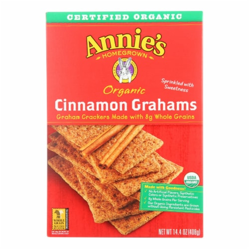 Annie's Homegrown Organic Cinnamon Graham Crackers - Case of 12 - 14.4 oz. Perspective: front
