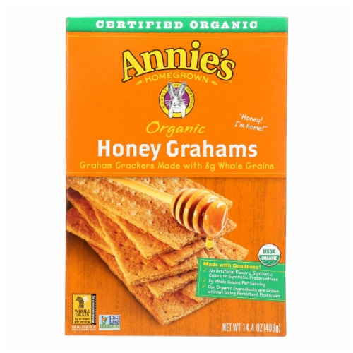 Annie's Homegrown Organic Honey Graham Crackers - Case of 12 - 14.4 oz. Perspective: front