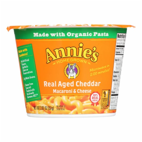 Annies Real Aged Cheddar Microwavable Macaroni and Cheese Cup - Case of 12 - 2.01 oz. Perspective: front
