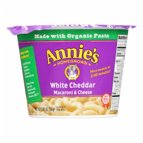 Annie's Homegrown White Cheddar Microwavable Macaroni and Cheese Cup - Case of 12 - 2.01 oz. Perspective: front