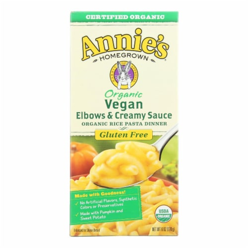 Annies Vegan Elbows and Creamy Sauce Rice Pasta Dinner - Case of 12 - 6 oz. Perspective: front