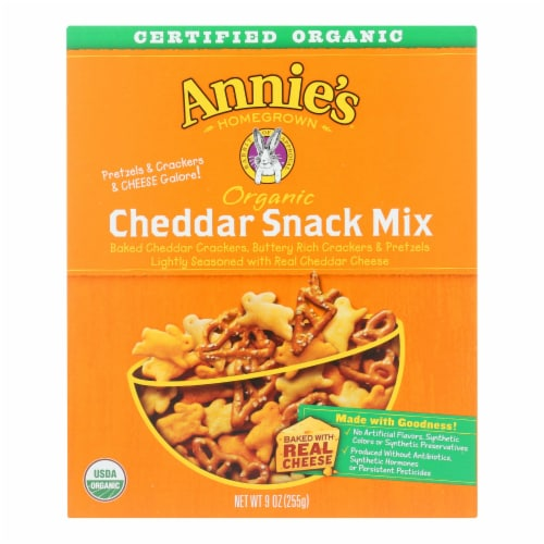 Annie's Homegrown Organic Bunnies Cheddar Snack Mix - Case of 12 - 9 oz. Perspective: front