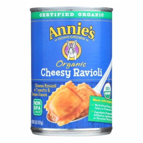 Annie's Homegrown Organic Cheesy Ravioli In Tomato and Cheese Sauce - Case of 12 - 15 oz. Perspective: front