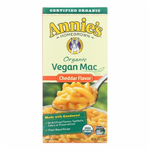 Annie's Homegrown Organic Macaroni & Cheese - Vegan Cheddar Flavored - Case of 12 - 6 oz Perspective: front