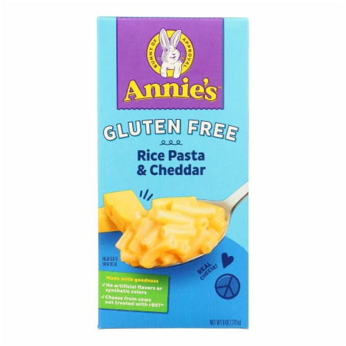 Annie's Homegrown Gluten Free Rice Pasta and Cheddar Mac and Cheese - Case of 12 - 6 oz. Perspective: front