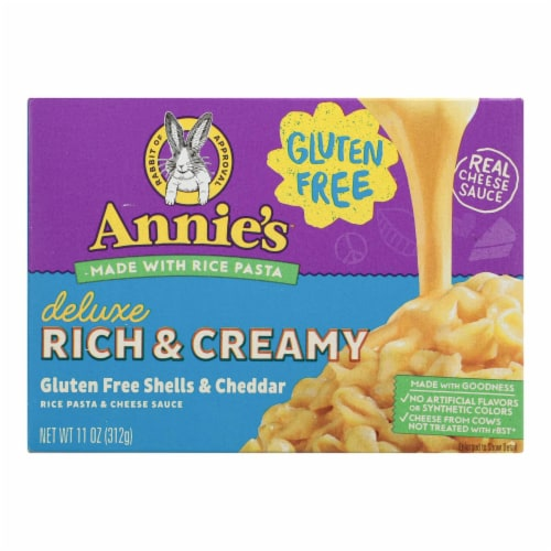 Annies Rice Pasta Dinner Creamy Deluxe Extra Cheesy Cheddar Sauce 11 oz - case of 12 Perspective: front