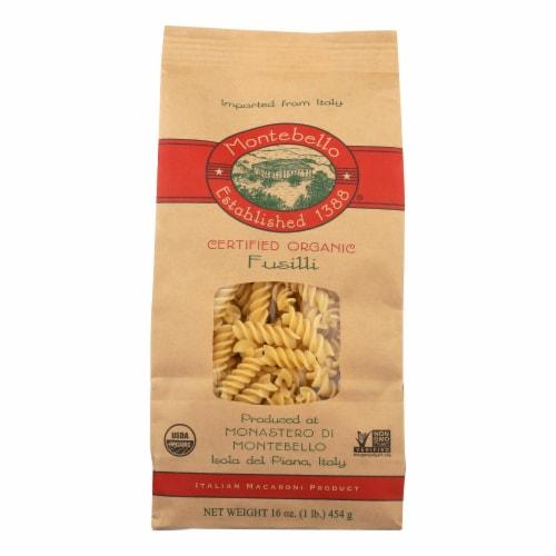 Montebello Organic Pasta - Fusilli - Case of 12 - 1 lb. Perspective: front
