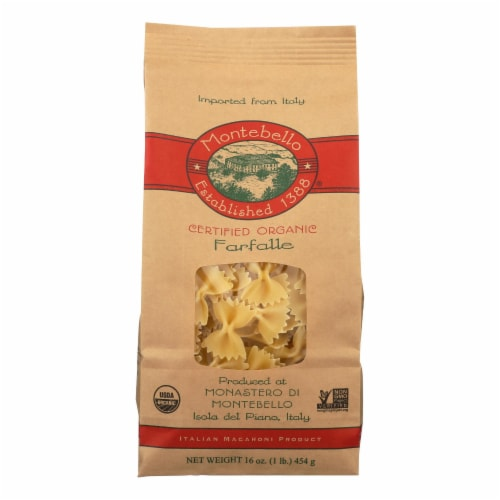 Montebello Organic Pasta - Farfalle - Case of 12 - 1 lb. Perspective: front