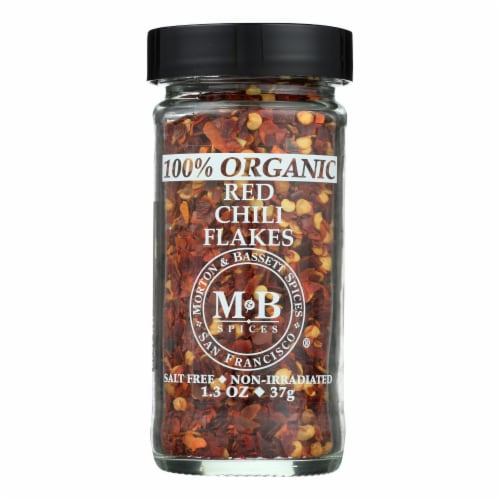 Morton And Bassett 100% Organic Red Chili Flakes - Case of 12 - 1.3 OZ Perspective: front