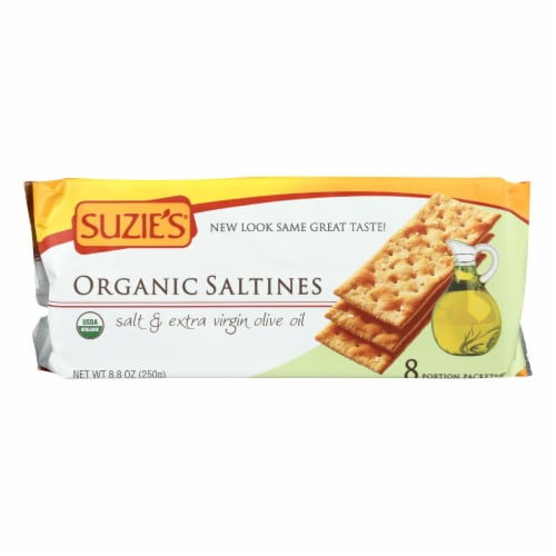 Suzie's Organic Saltines - Salt and Extra Virgin Olive Oil - Case of 12 - 8.8 oz. Perspective: front
