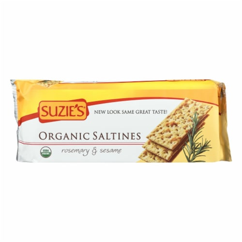 Suzie's Organic Saltines - Rosemary and Sesame - Case of 12 - 8.8 oz. Perspective: front