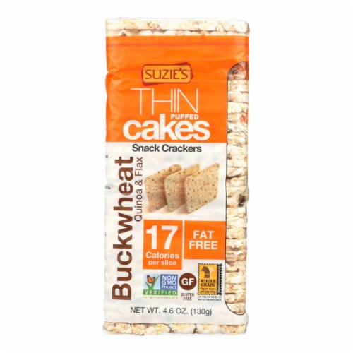 Suzie's, Thin Cakes Puffed Crackers, Buckwheat, Quinoa & Flax - Case of 12 - 4.6 OZ Perspective: front