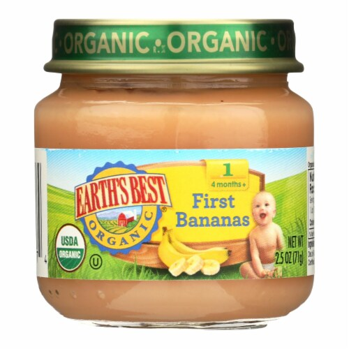 Earth's Best Organic First Bananas Baby Food - Stage 1 - Case of 12 - 2.5 oz. Perspective: front