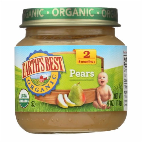 Earth's Best - Stage 2 Pears - Case of 10-4 OZ Perspective: front