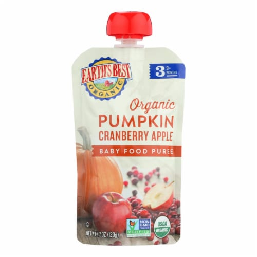 Earth's Best Organic Pumpkin Cranberry Apple Baby Food Puree - Stage 3 - Case of 12 - 4.2 oz. Perspective: front