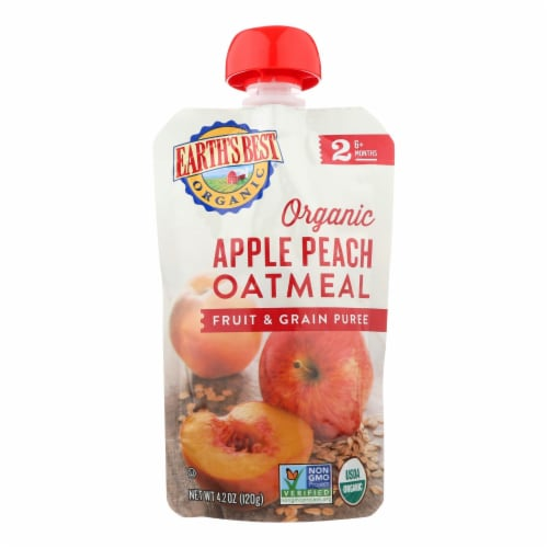 Earths Best Baby Food-Org-Puree-Age 6 Months Plus-Stage 2-Apple Peach Oatmeal-4.2oz-12Case Perspective: front