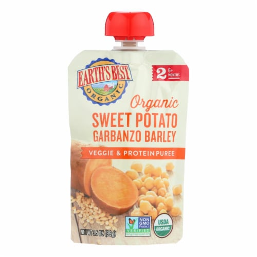 Earth's Best Organic Sweet Potato Garbanzo Barley Vegg and Protein Puree-Stage 2-12Case-3.5oz Perspective: front