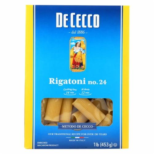 De Cecco Pasta - Pasta - Rigatoni - Case of 12 - 16 oz Perspective: front