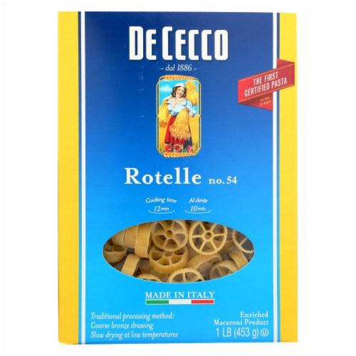 De Cecco Pasta - Pasta - Rotelle - Wagonwheel - Case of 12 - 16 oz Perspective: front