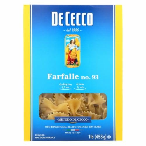 De Cecco Pasta - Pasta - Farfalle - Bowties - Case of 12 - 16 oz Perspective: front