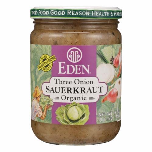 Eden Three Onion Organic Sauerkraut  - Case of 12 - 18 OZ Perspective: front