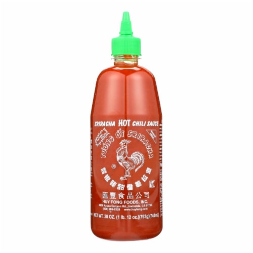 Huy Fong Hot Chili Sauce - Sriracha - Case of 12 - 28 oz. Perspective: front