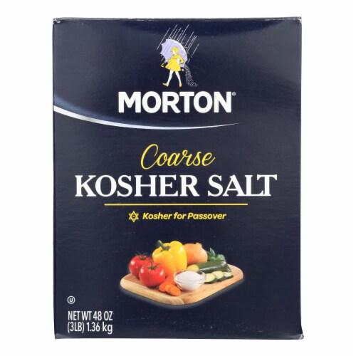 Morton Coarse Kosher Salt  - Case of 12 - 48 OZ Perspective: front