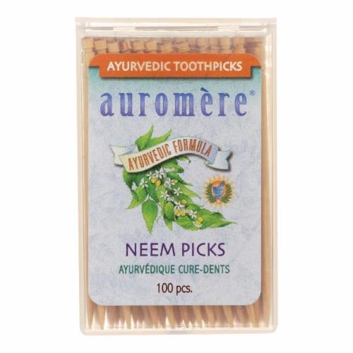 Auromere Ayurvedic Neem Picks - 100 Toothpicks - Case of 12 Perspective: front