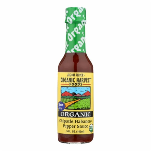 Organic Harvest Pepper Sauce - Chipotle Habanero - Case of 12 - 5 oz. Perspective: front