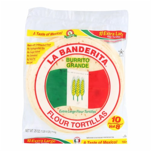 La Banderita Grande Tortilla - Burrito - Case of 12 - 25 oz. Perspective: front