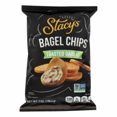 Stacy's Pita Chips Bagel Chips - Toastd Garlic - Case of 12 - 7 oz Perspective: front