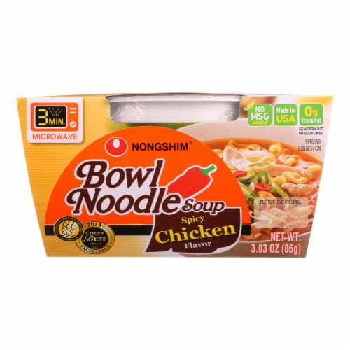 Nong Shim Soup - Bowl Noodle - Spicy Chicken Flavor - 3.03 oz - case of 12 Perspective: front