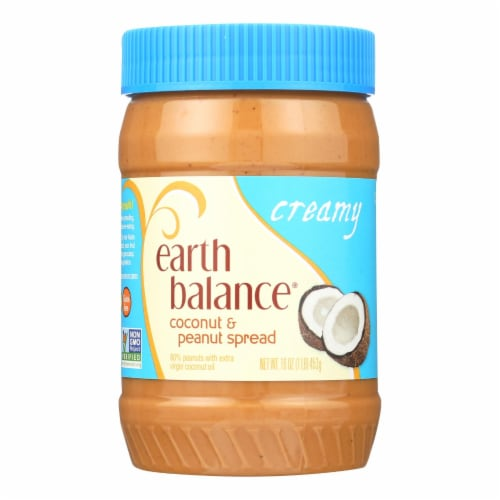 Earth Balance Creamy Coconut and Peanut Spread - Case of 12 - 16 oz. Perspective: front