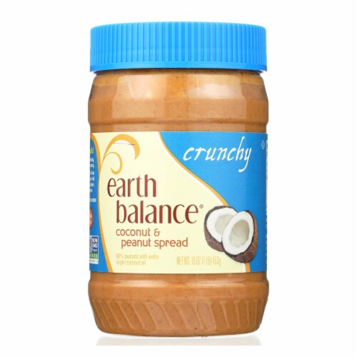 Earth Balance Crunchy Coconut and Peanut Spread - Case of 12 - 16 oz. Perspective: front