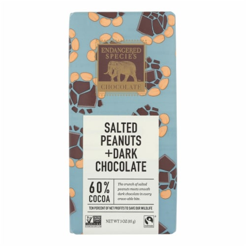 Endangered Species Chocolate Bar - Salted Peanuts and Dark Chocolate - Case of 12 - 3 oz. Perspective: front