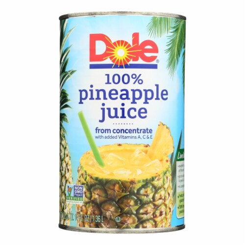 Dole 100% Pineapple Juice - Case of 12 - 46 FZ Perspective: front