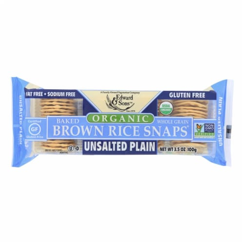 Edward and Sons Brown Rice Snaps - Unsalted Plain - Case of 12 - 3.5 oz. Perspective: front