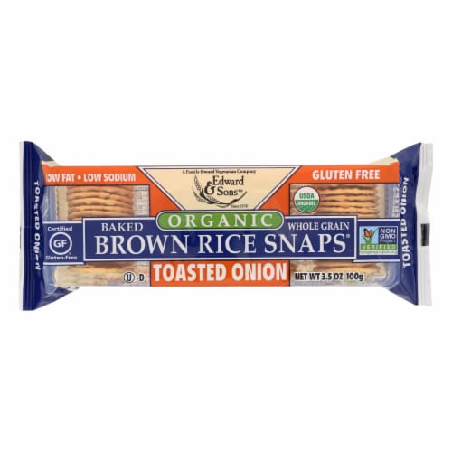 Edward and Sons Brown Rice Snaps - Toasted Onion - Case of 12 - 3.5 oz. Perspective: front