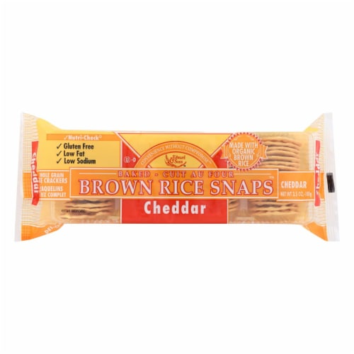 Edward and Sons Brown Rice Snaps - Cheddar - Case of 12 - 3.5 oz. Perspective: front