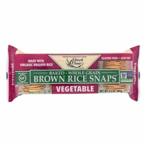 Edward and Sons Organic Vegetable Brown Rice Snaps - Case of 12 - 3.5 oz. Perspective: front