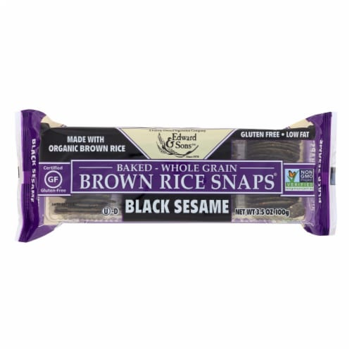 Edward and Sons Brown Rice Snaps - Black Sesame - Case of 12 - 3.5 oz. Perspective: front