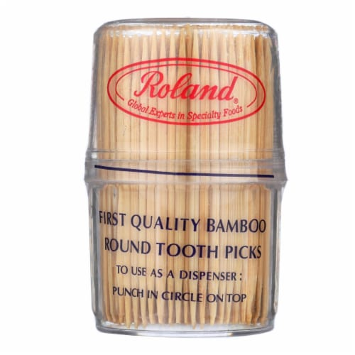 Roland Bamboo Toothpicks - Round - Case of 12 - 300 Count Perspective: front